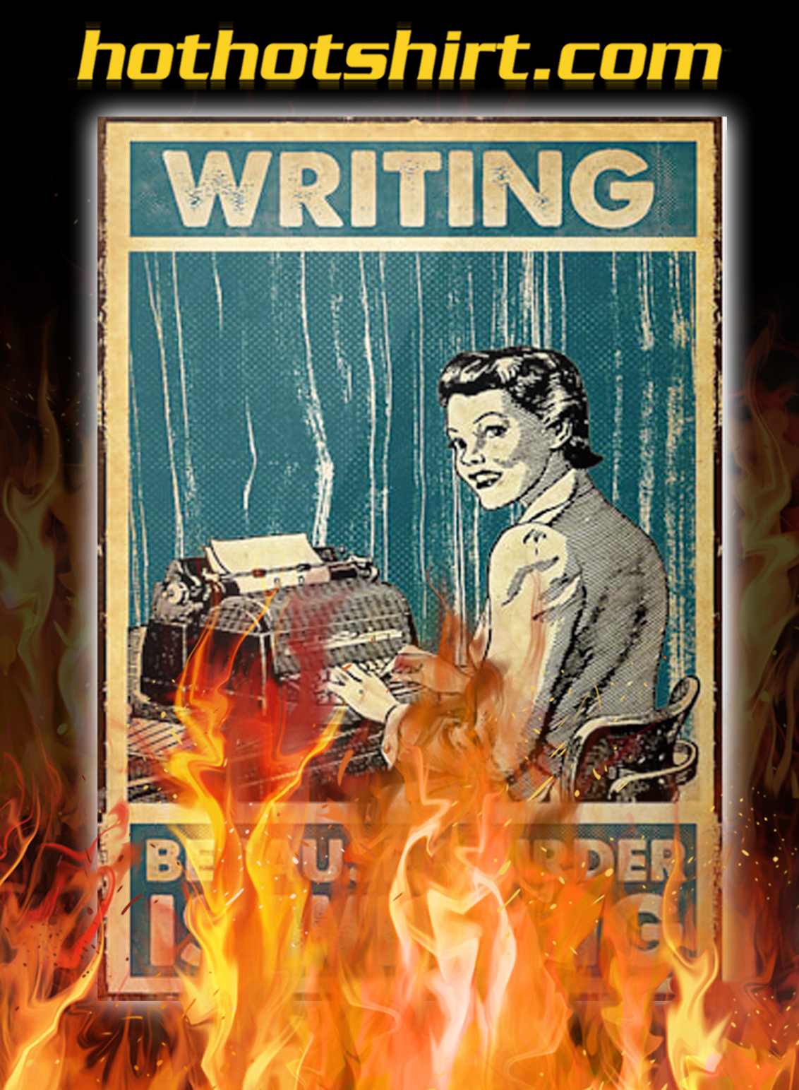 Typing girl writing because murder is wrong poster - A3
