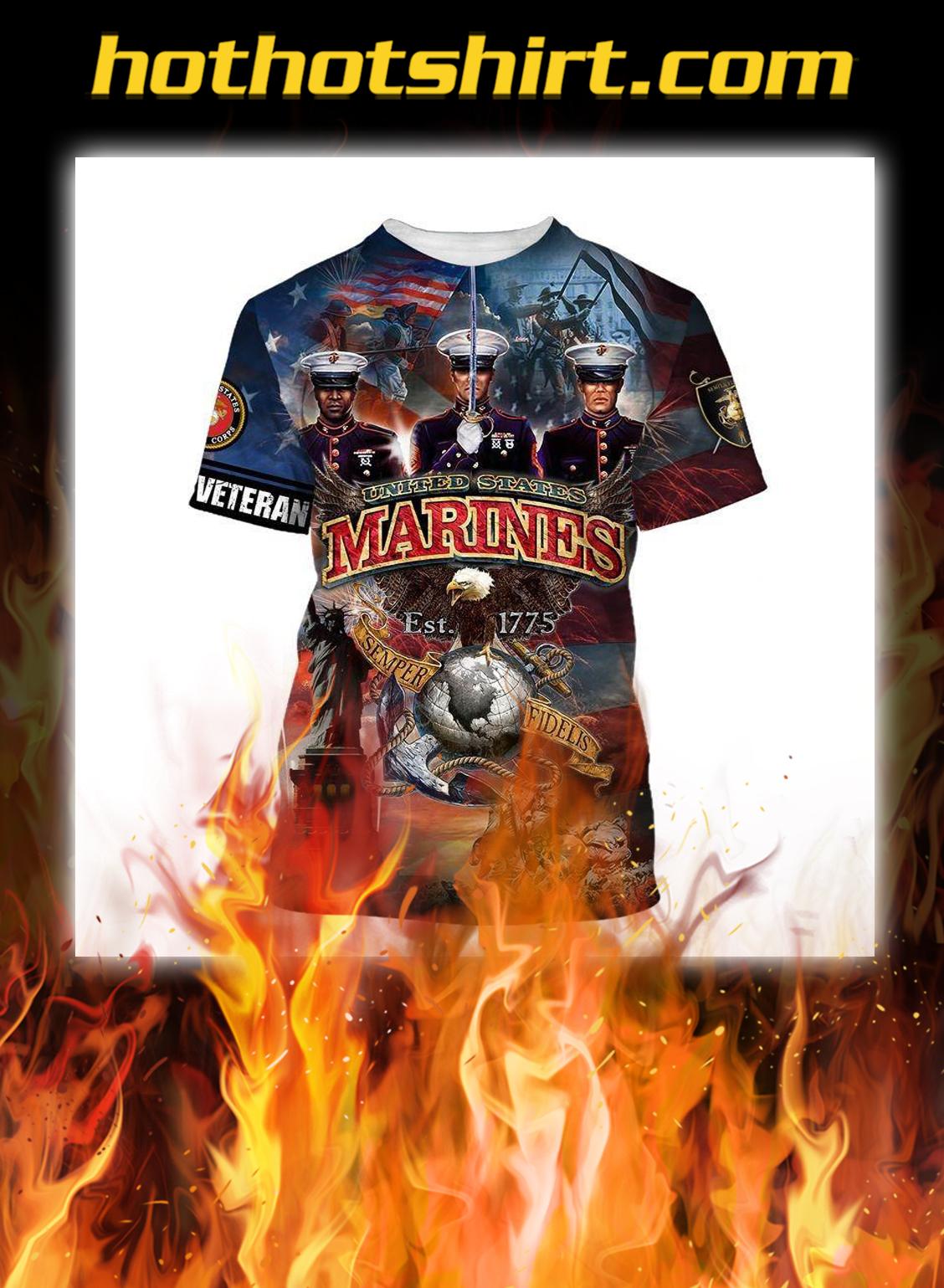 US marines corps est 1775 eagle 3d shirt
