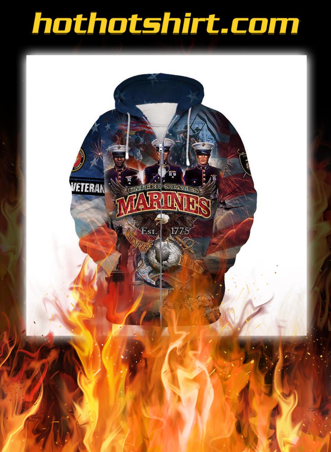 US marines corps est 1775 eagle 3d zip hoodie