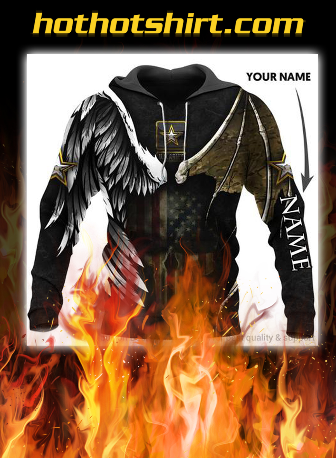 Us army skull angel and devil personalized custom name hoodie- pic 1