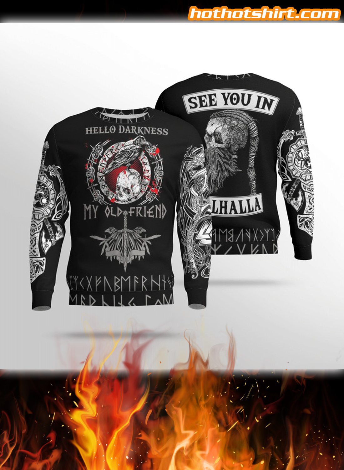 Viking Hello Darkness My Old Friend See You In Valhalla 3D All Over Printed Hoodie 1