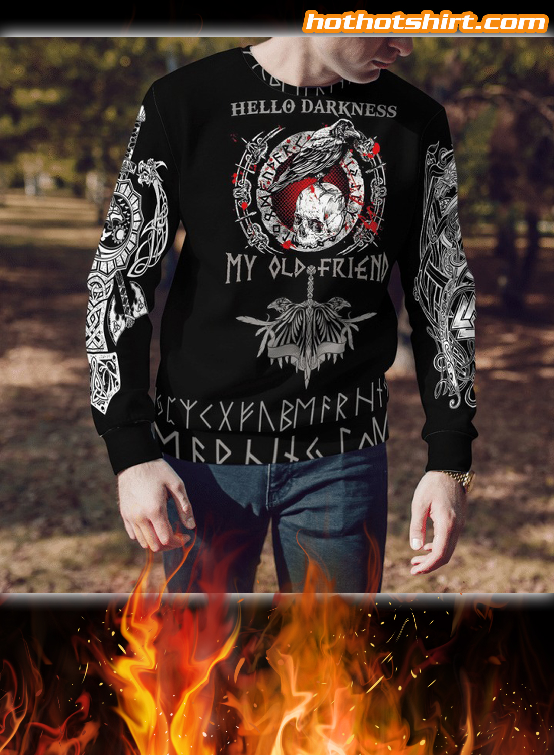 Viking Hello Darkness My Old Friend See You In Valhalla 3D All Over Printed Hoodie 3