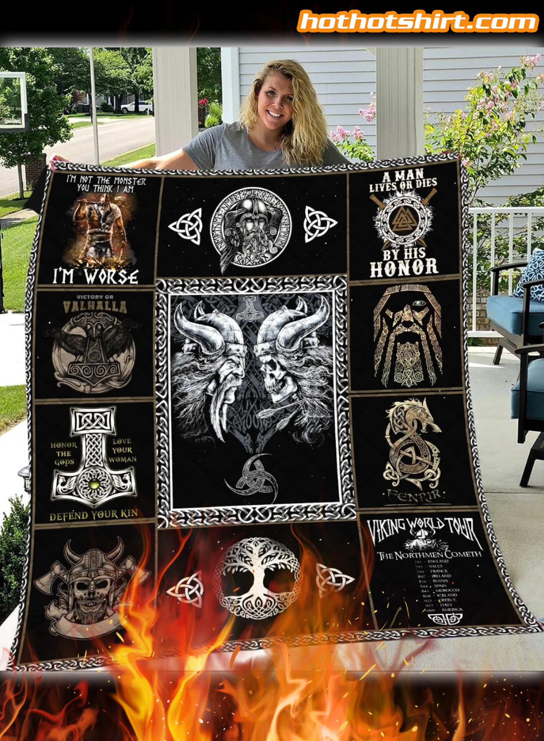 Viking I'm Not The Monster You Think I Am I'm Worse Quilt Blanket