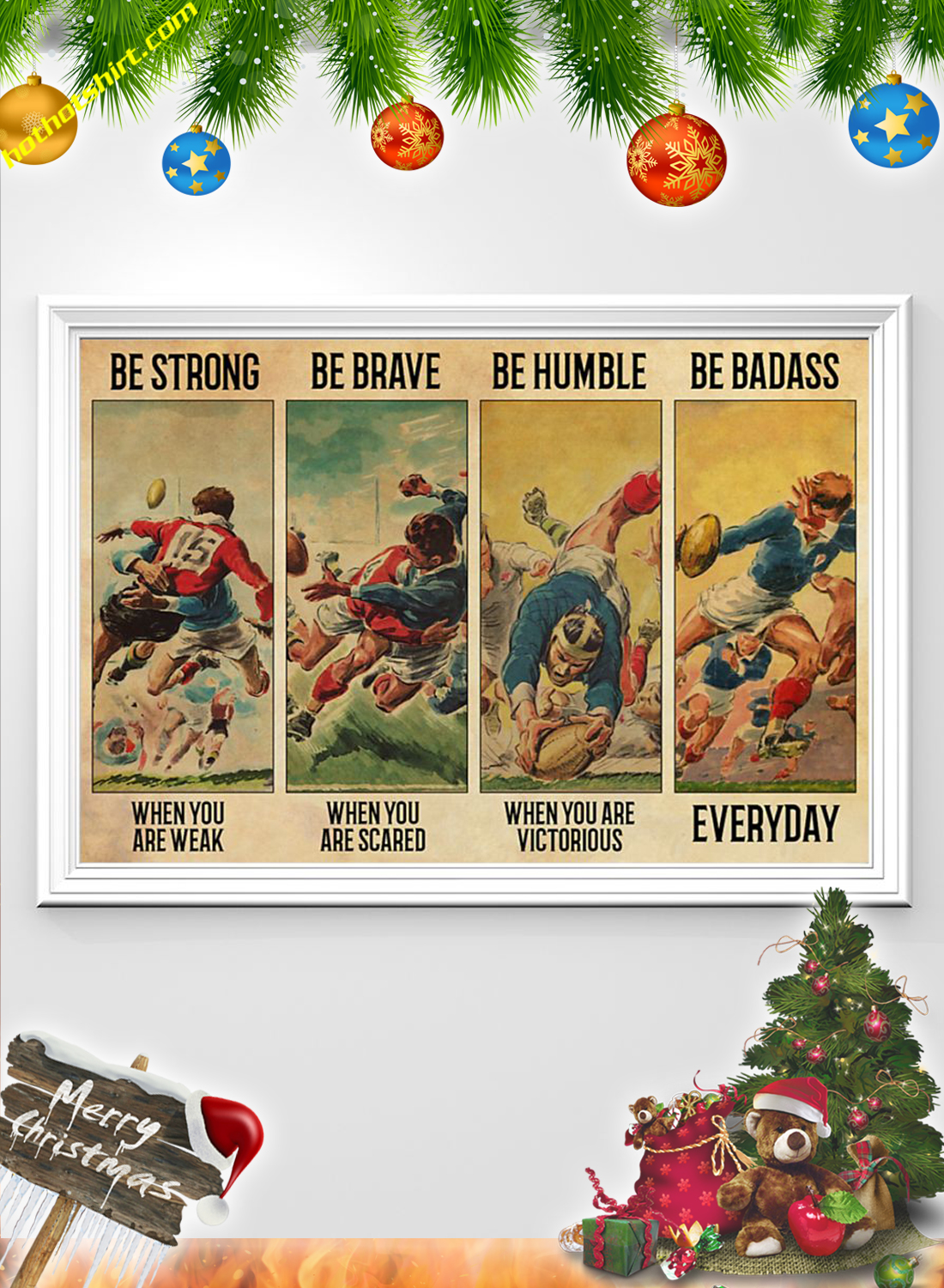 Vintage Rugby Be strong be brave be humble be badass poster 1