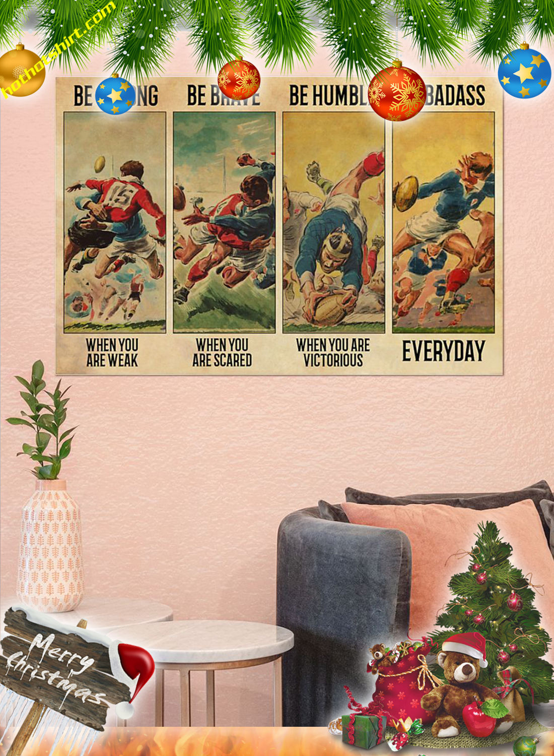 Vintage Rugby Be strong be brave be humble be badass poster 2
