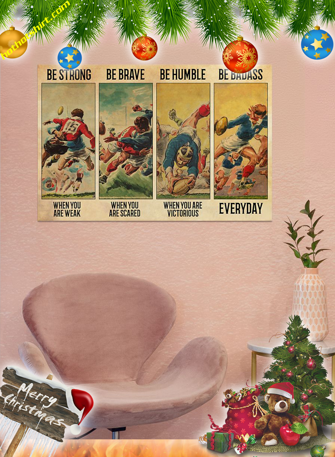 Vintage Rugby Be strong be brave be humble be badass poster 3