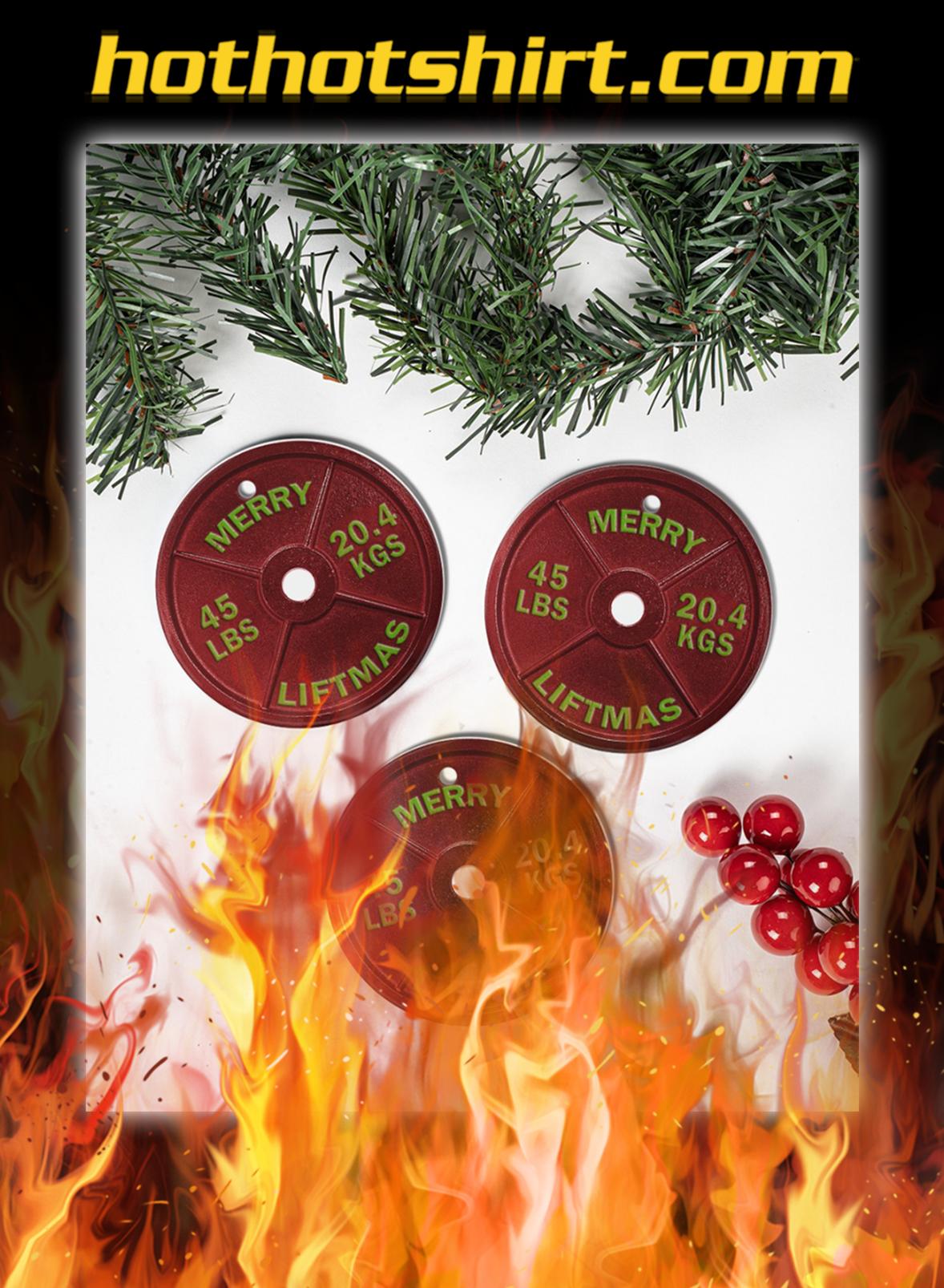 Weightlifting Merry Liftmas Christmas Circle Ornament- pic 1