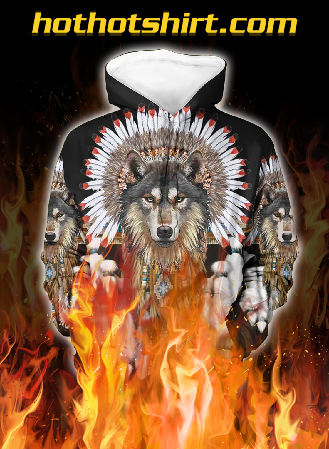 Wolf With Feather Headdress 3D Hoodie - front
