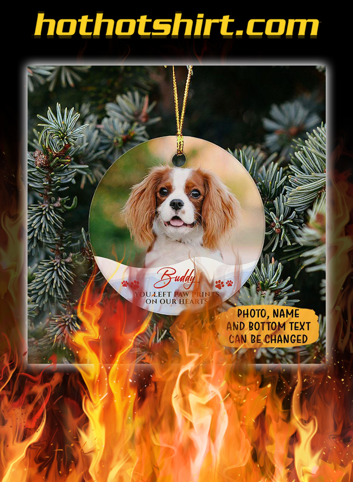 You Left Paw Print Personalized Christmas Ornaments Custom Photo- pic 1