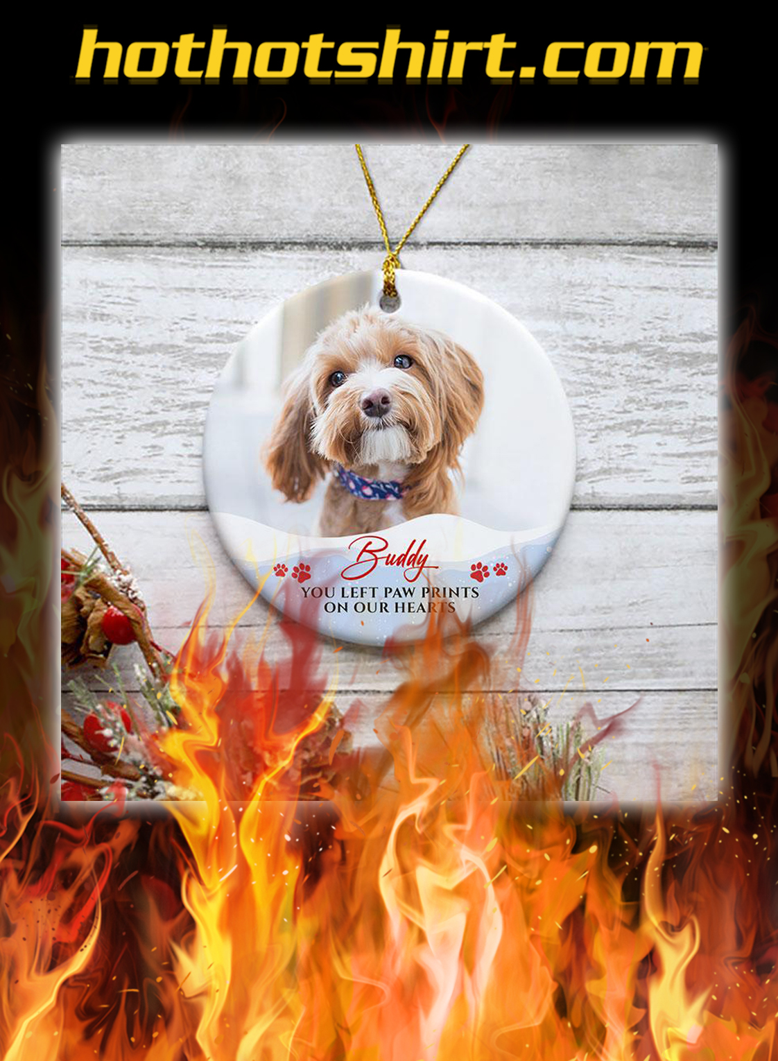 You Left Paw Print Personalized Christmas Ornaments Custom Photo- pic 2