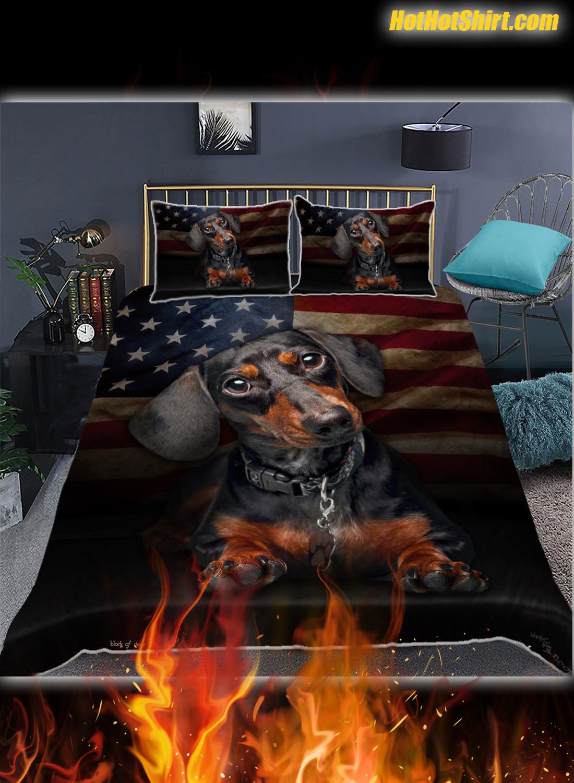Dachshund American Flag Like Bedding Set