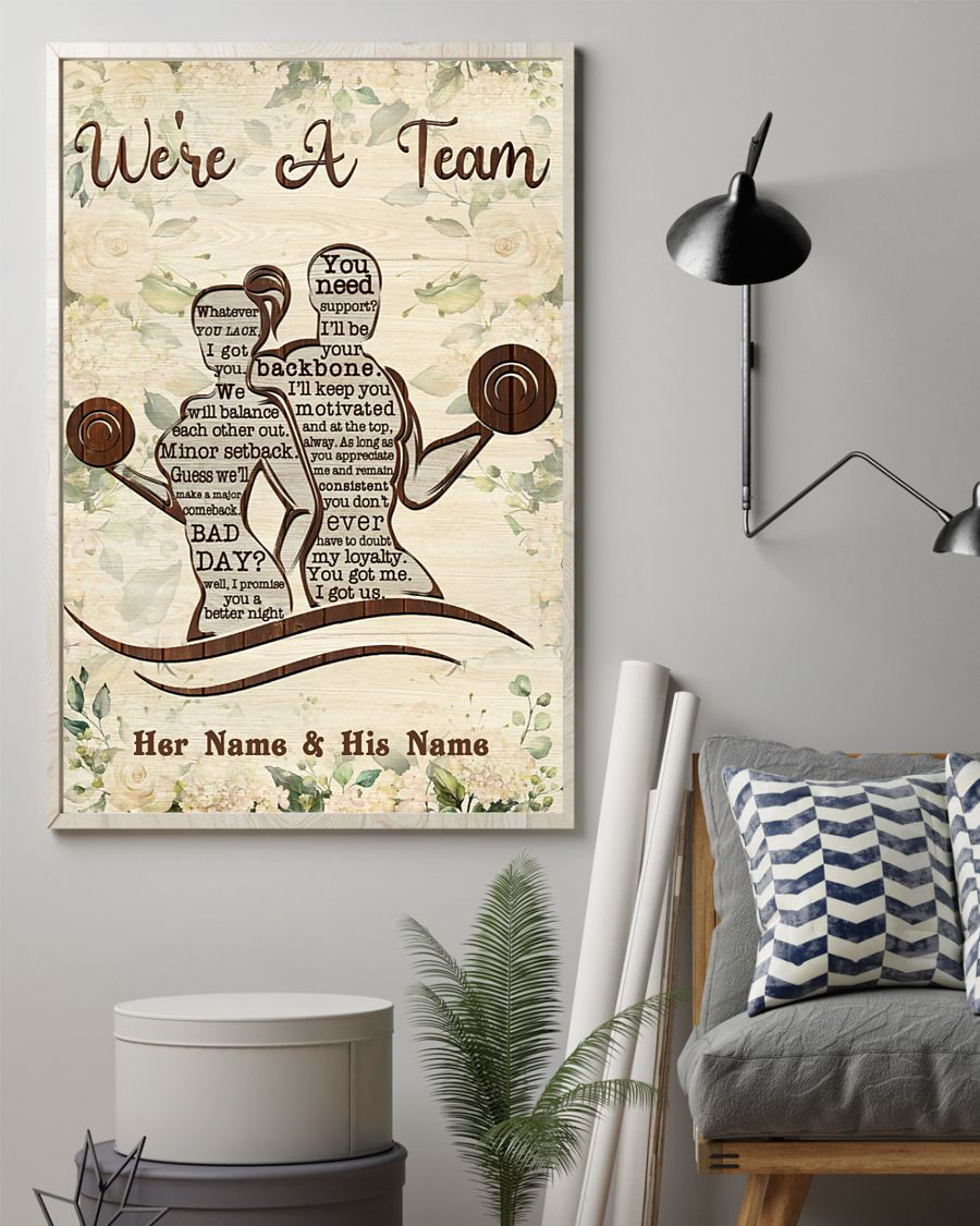 Fitness we're a team custom name personalized poster 1