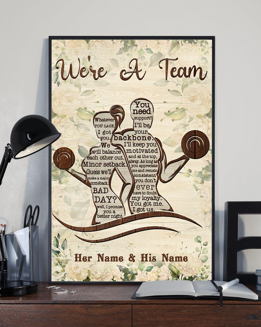 Fitness we're a team custom name personalized poster 2