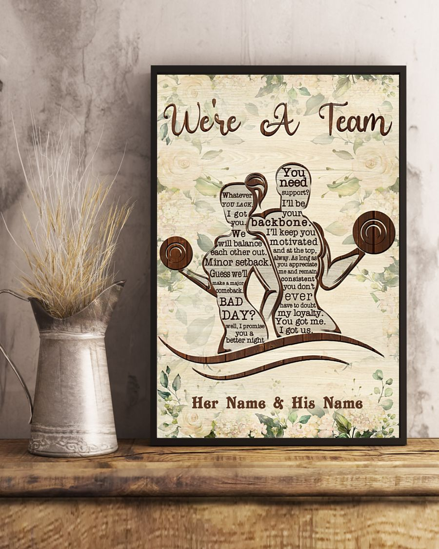Fitness we're a team custom name personalized poster 3