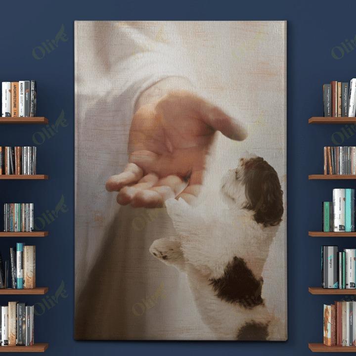 God jesus Shih Tzu take my hand canvas and poster 1