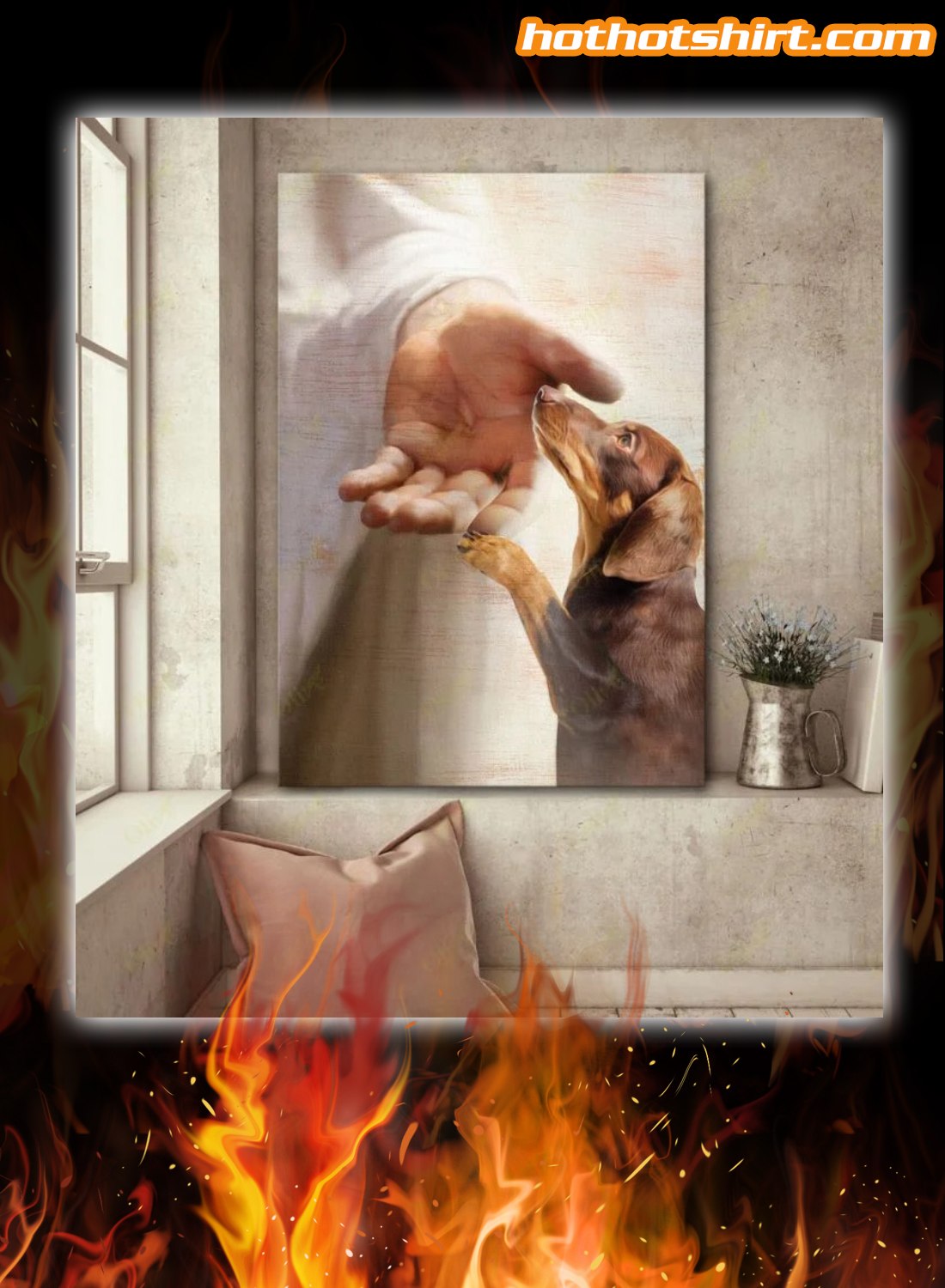 God jesus dachshund take my hand canvas and poster