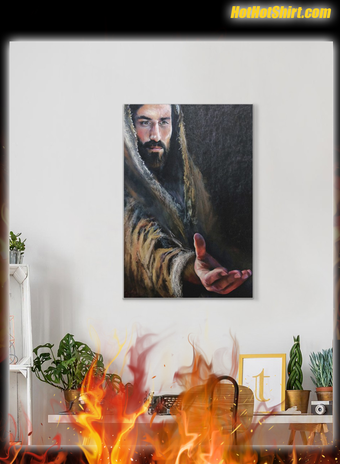 Jesus Reaching Hand Canvas Poster 1