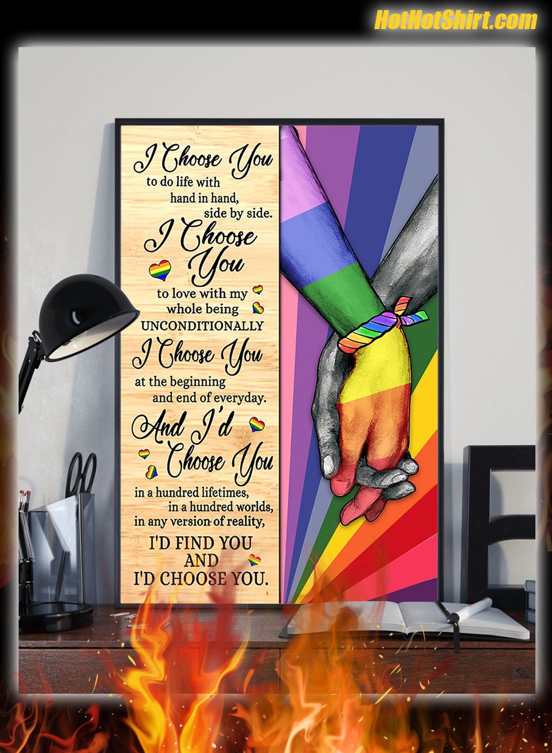 LGBT I Chose You To Life With Hand In Hand Side By Side Poster 1