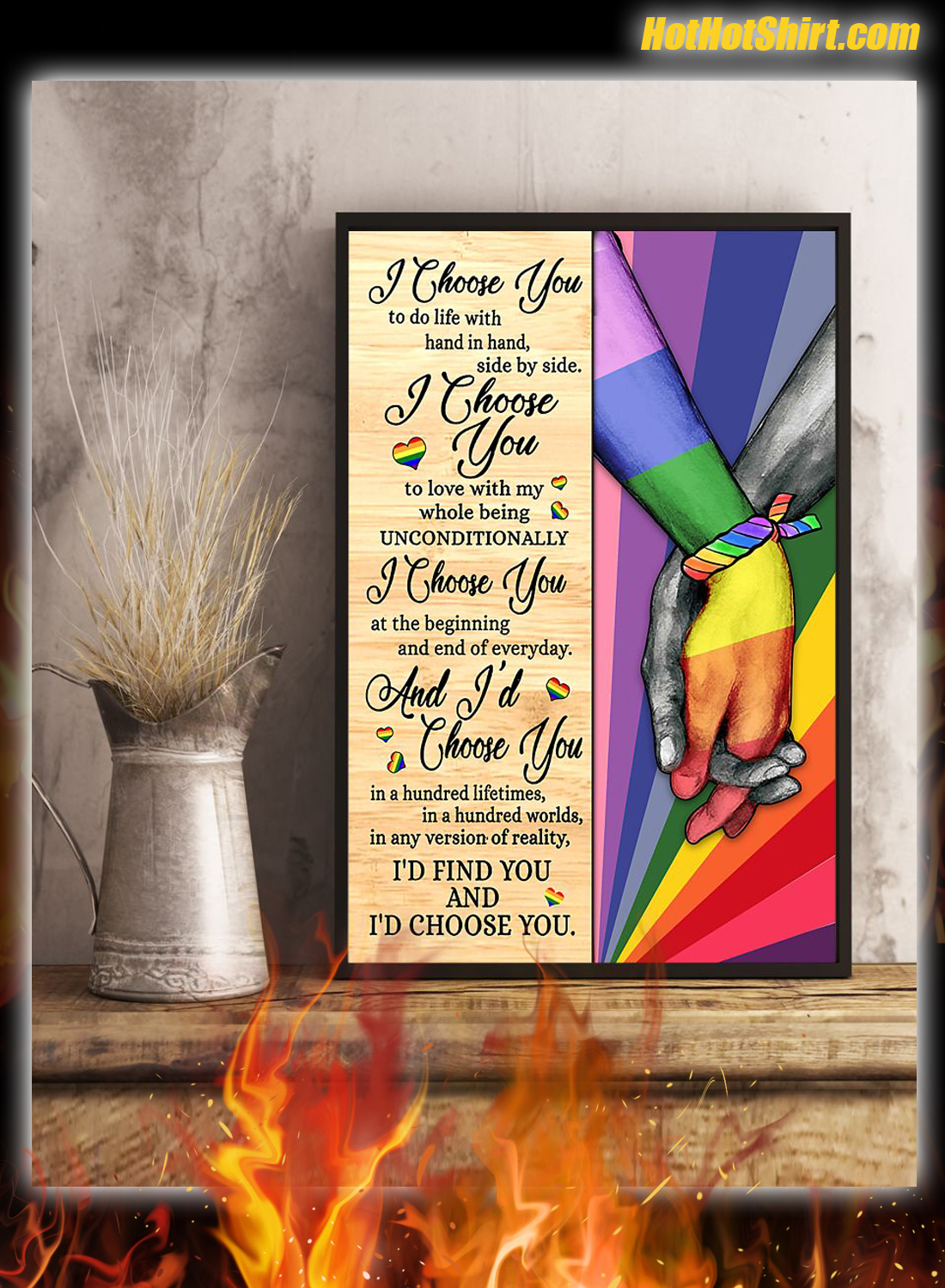 LGBT I Chose You To Life With Hand In Hand Side By Side Poster 2