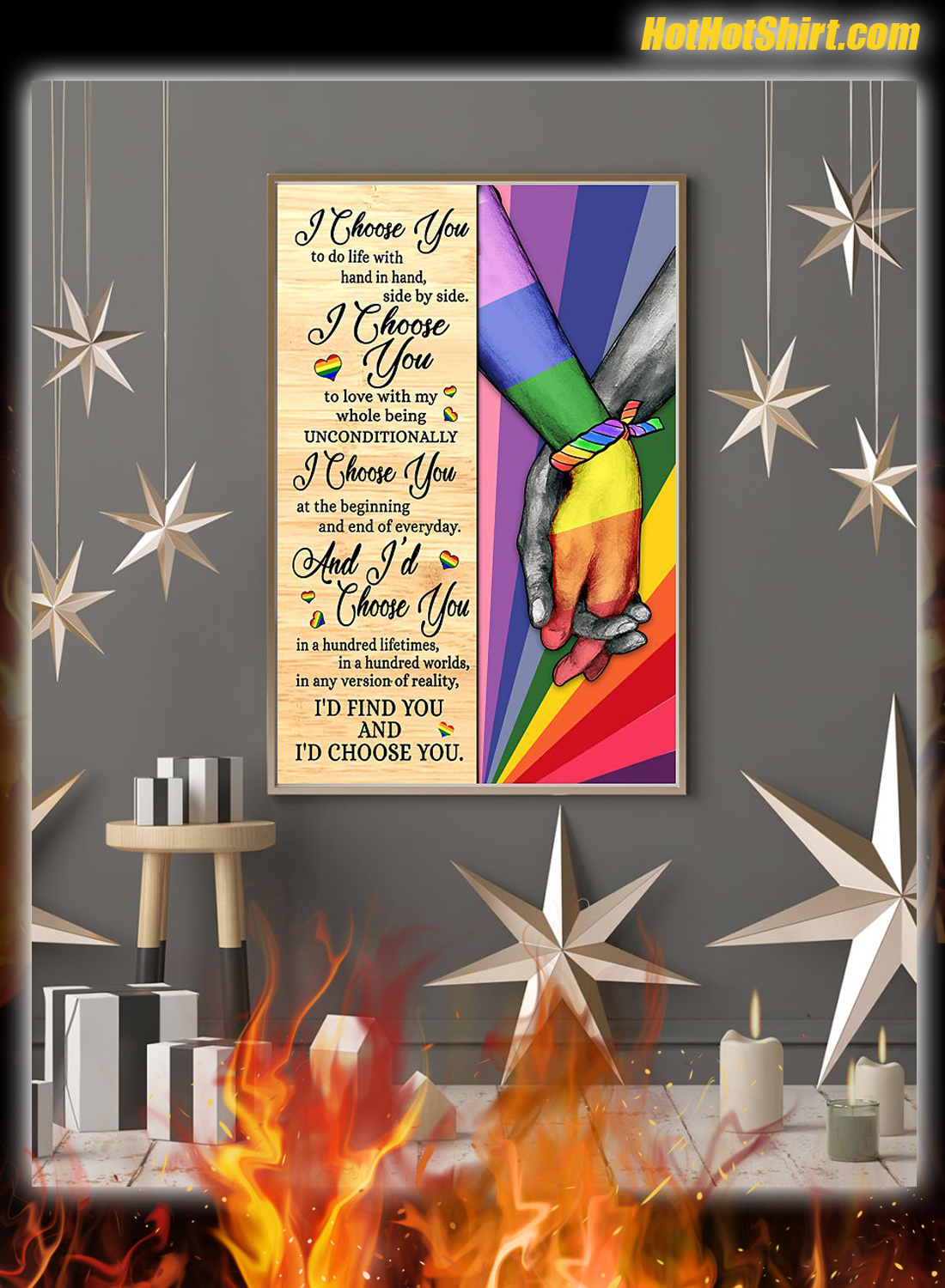 LGBT I Chose You To Life With Hand In Hand Side By Side Poster 3