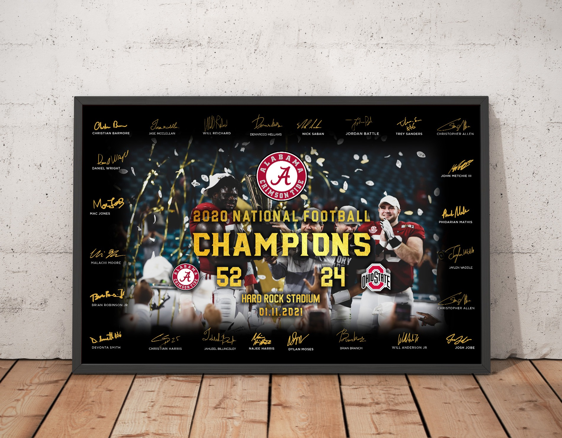 Alabama Crimson 2020 National Football Champion Player Signatures Poster 1
