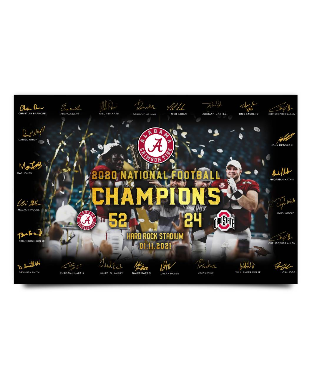 Alabama Crimson 2020 National Football Champion Player Signatures Poster