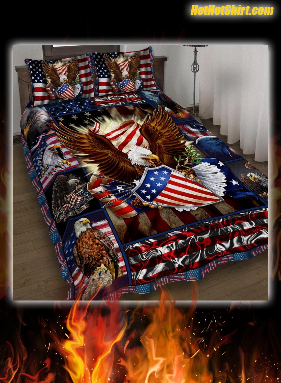 Patriotic Eagle American Flag Bedding Set 1