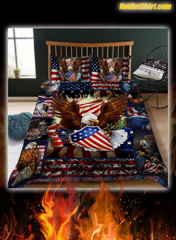Patriotic Eagle American Flag Bedding Set