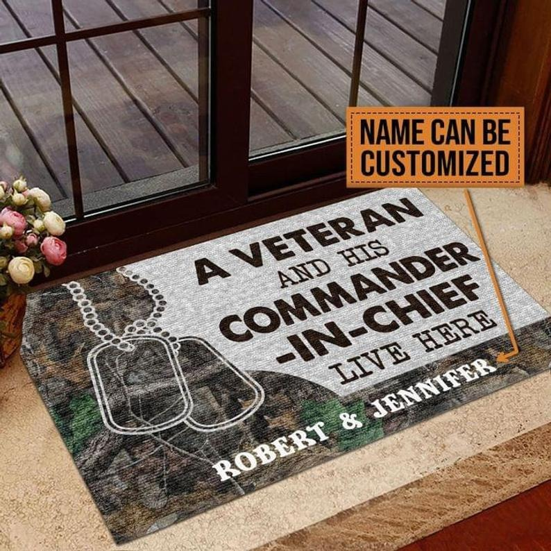 Personalized A veteran and his commander in chief live here doormat 4