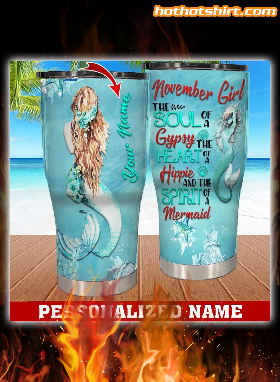 Personalized Custom Name November Girl Mermaid Tumbler 1