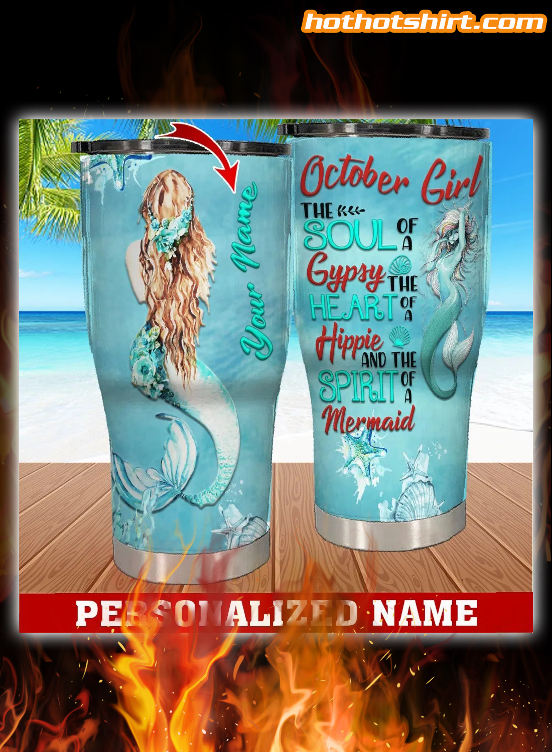 Personalized Custom Name October Girl Mermaid Tumbler 1