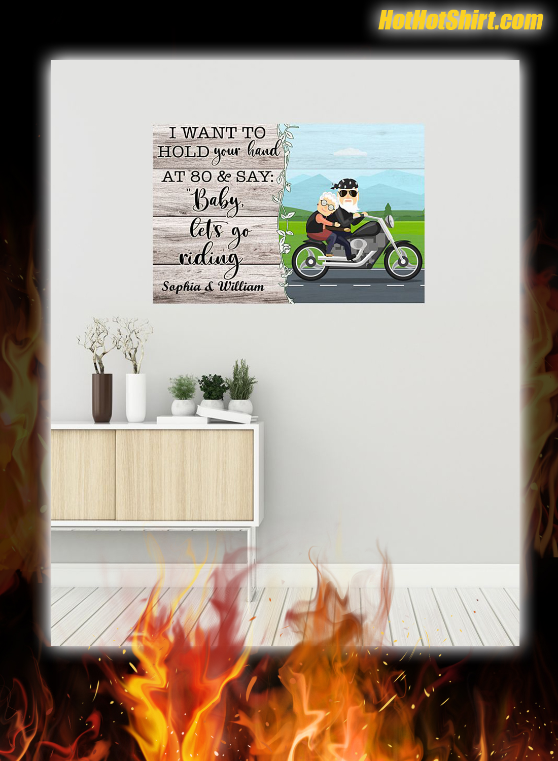 Personalized I Want To Hold Your Hand At 80 And Say Baby Let Go Riding Poster 1