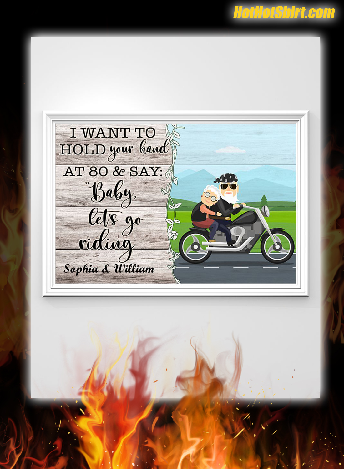 Personalized I Want To Hold Your Hand At 80 And Say Baby Let Go Riding Poster 2