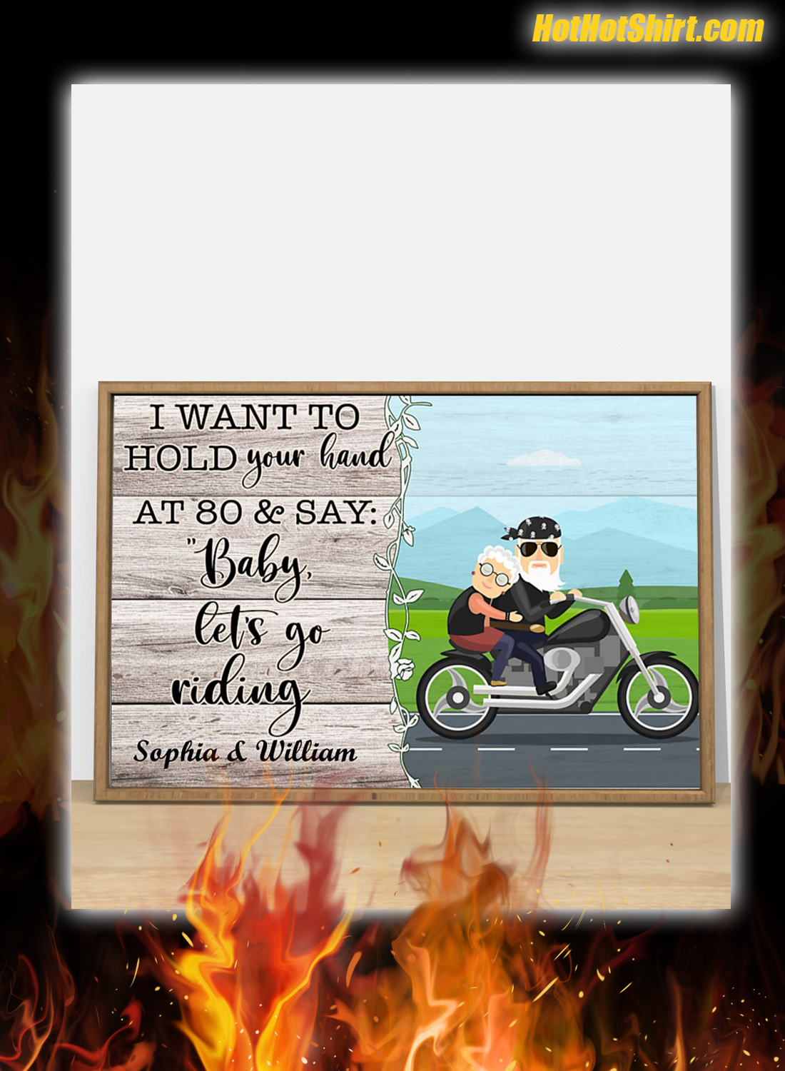 Personalized I Want To Hold Your Hand At 80 And Say Baby Let Go Riding Poster 3