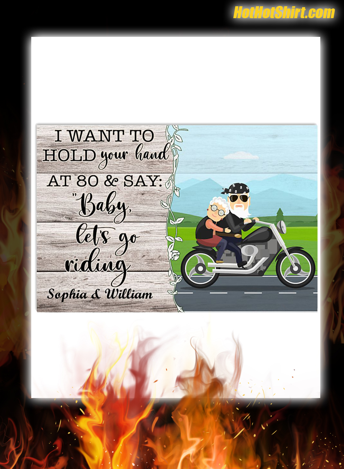 Personalized I Want To Hold Your Hand At 80 And Say Baby Let Go Riding Poster