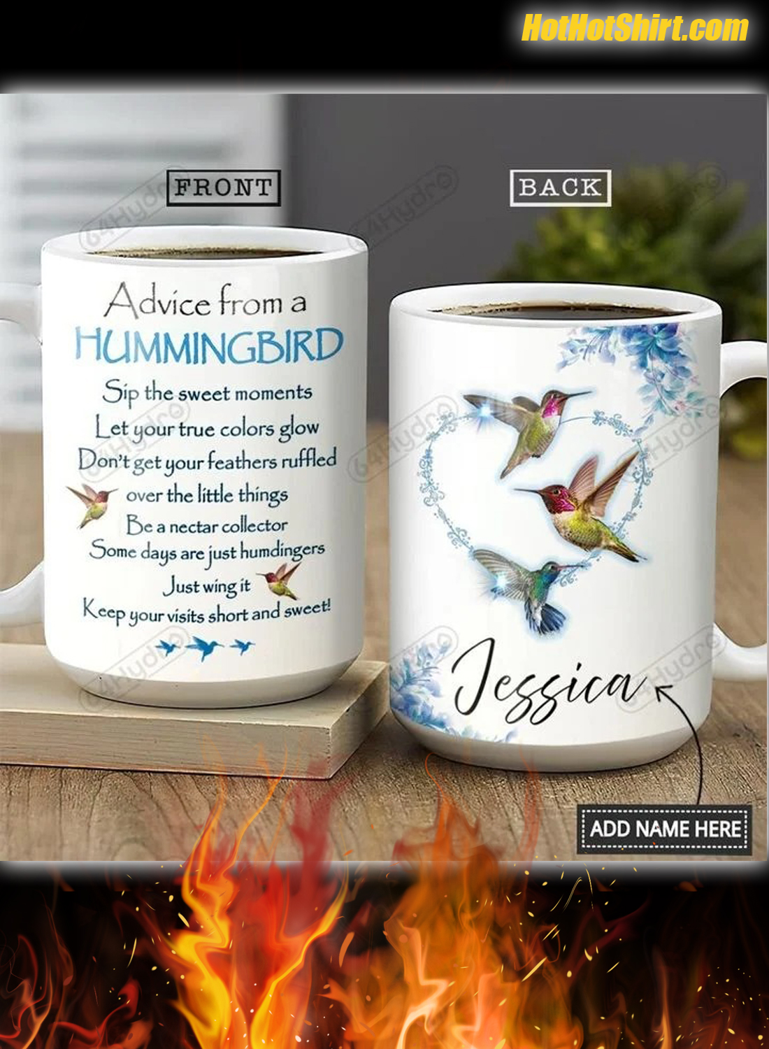 Personalized Name Advice From A Hummingbird Mug 1