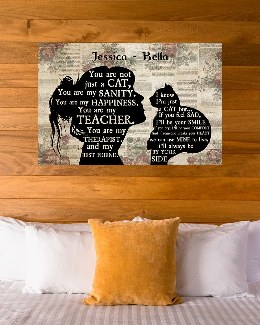 Personalized custom name girl and cat silhouette poster