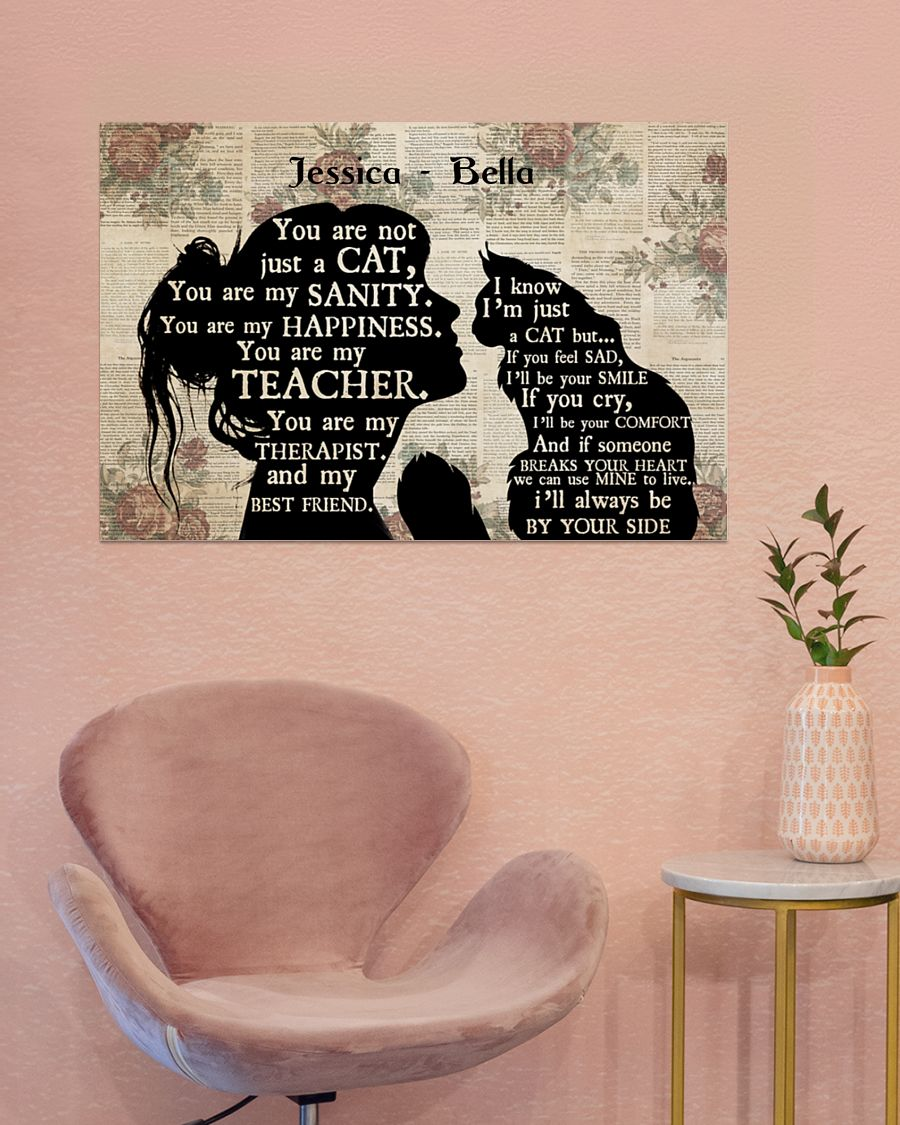 Personalized custom name girl and maine cat silhouette poster