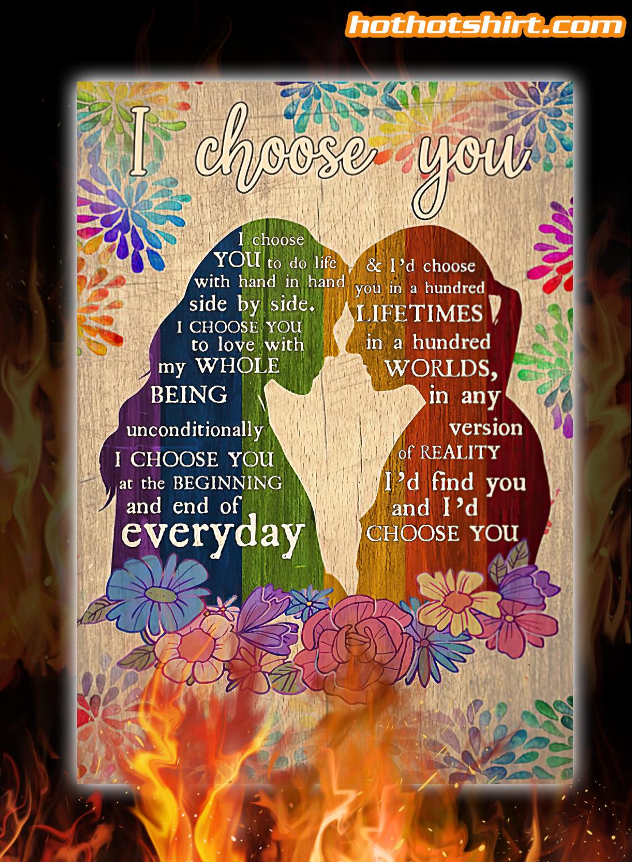 Pesonalized customize Lesbian Couple I choose you i choose you to do life poster