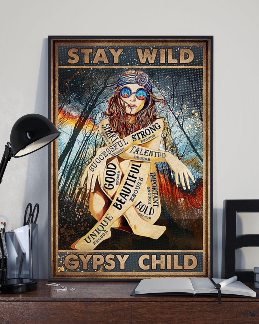 Stay wild gypsy child hippie girl poster 2