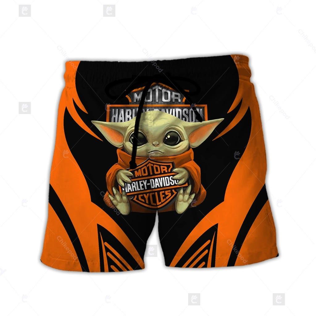 Baby Yoda Hug Harley Davidson logo 3d All Over Printed Hoodie Clothes