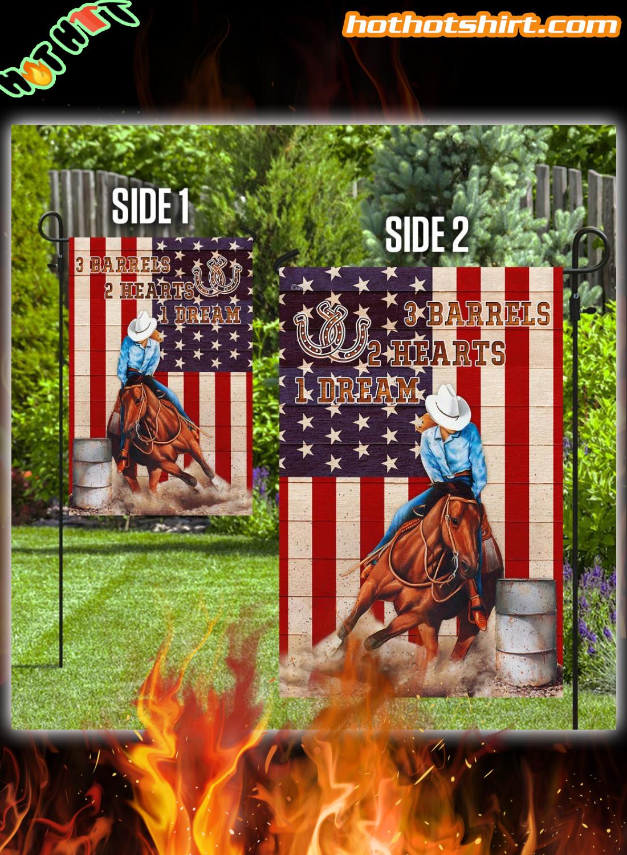 Barrel Racing 3 barrels 2 hearts 1 dream flag