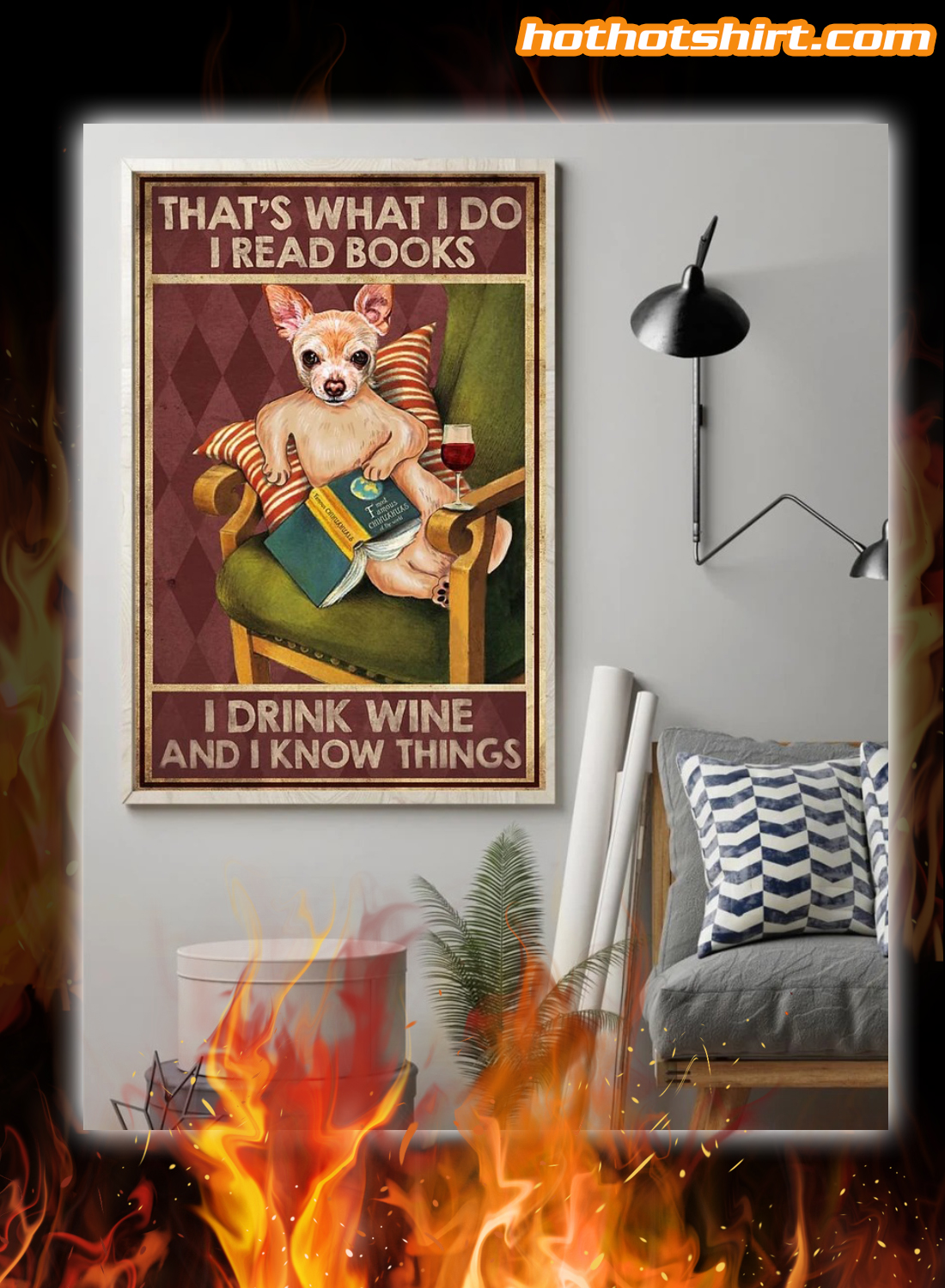 Chihuahua read books drink wine canvas
