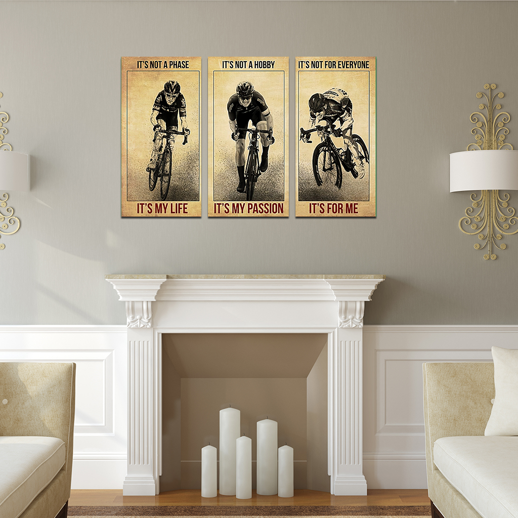 Cycling It's not a phase it's my life 3 piece canvas