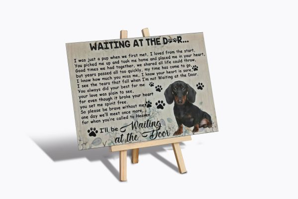 Dachshund waiting at the door poster