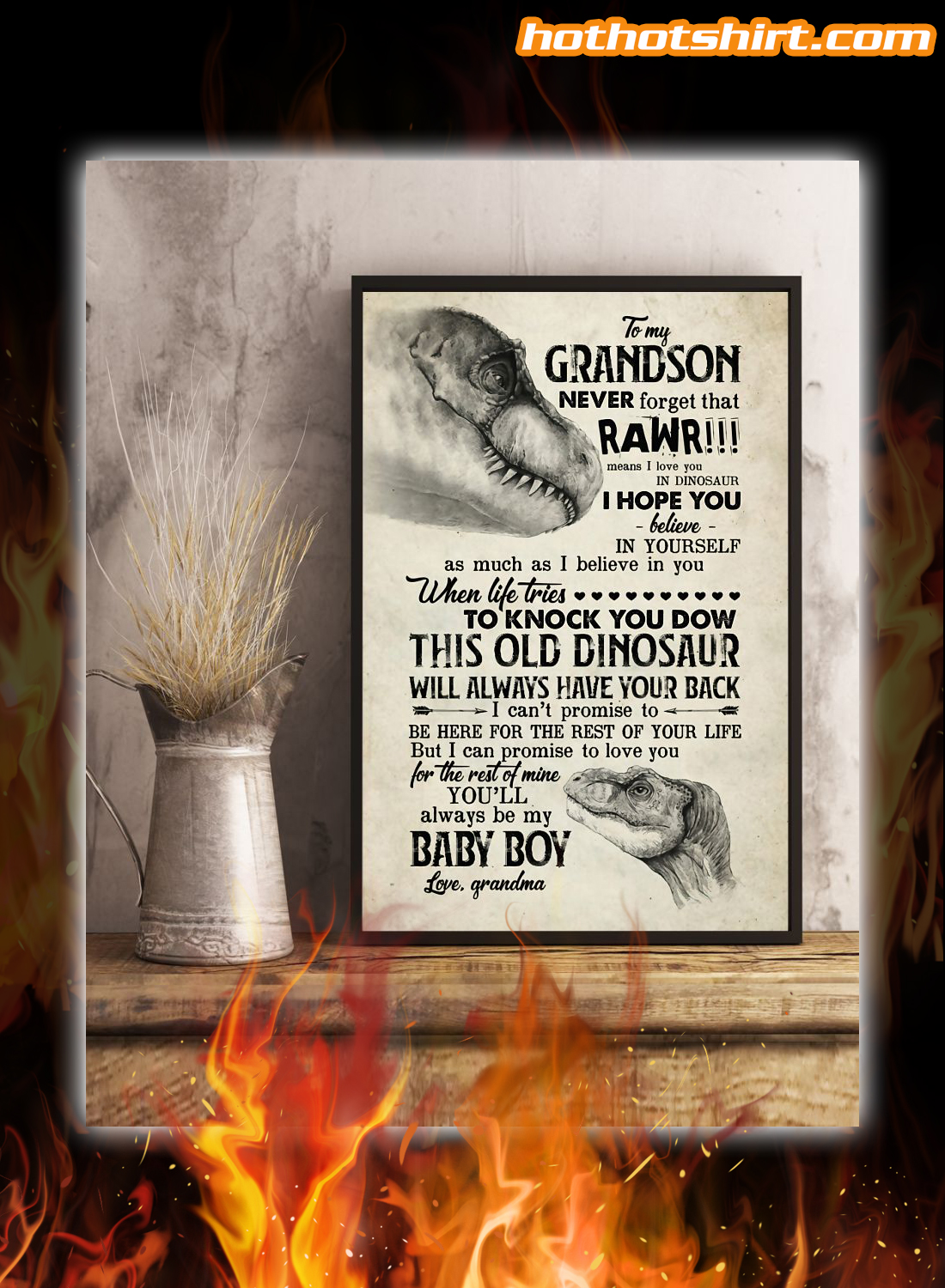 Dinosaur to my grandson love grandma poster