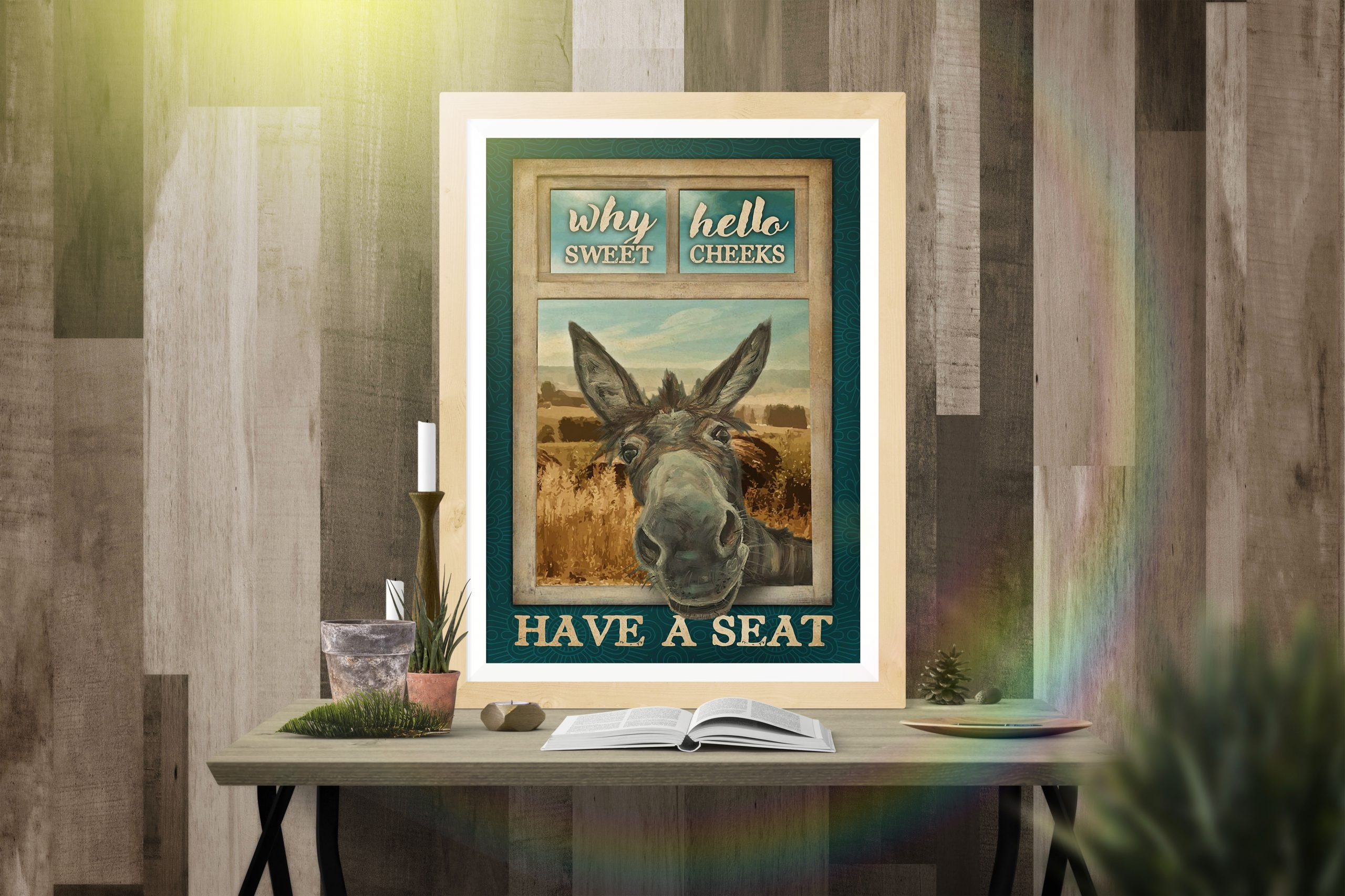 Donkey Why Hello Sweet Cheeks Have A Seat Poster