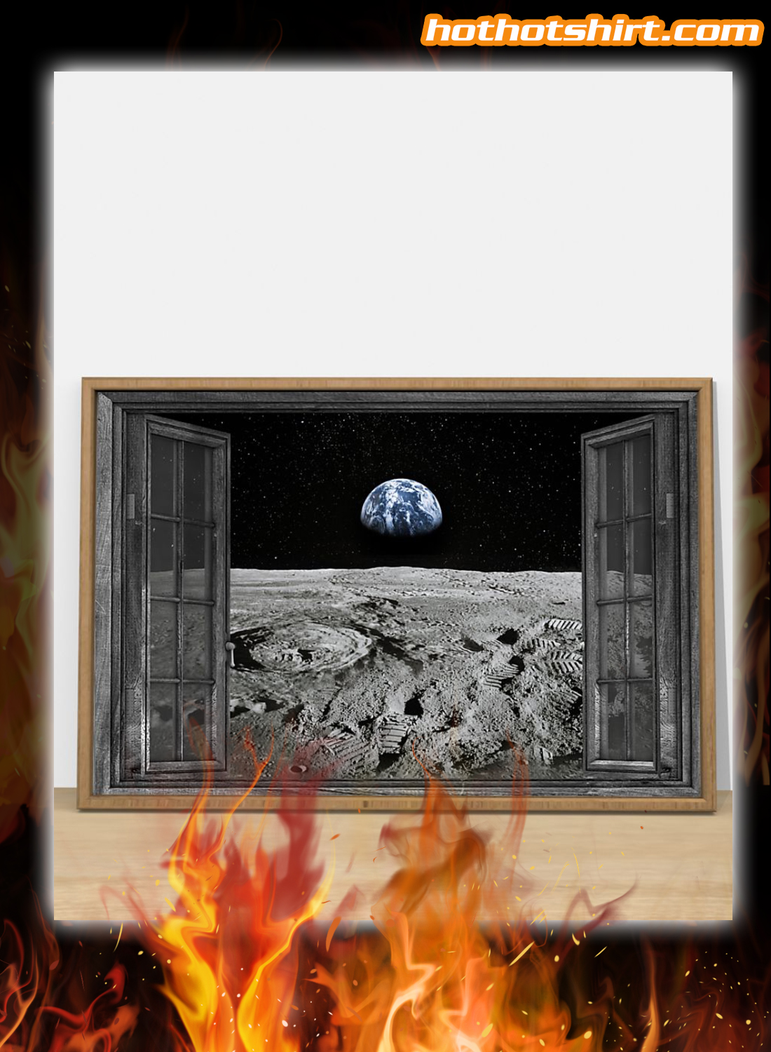 Earth planet window poster