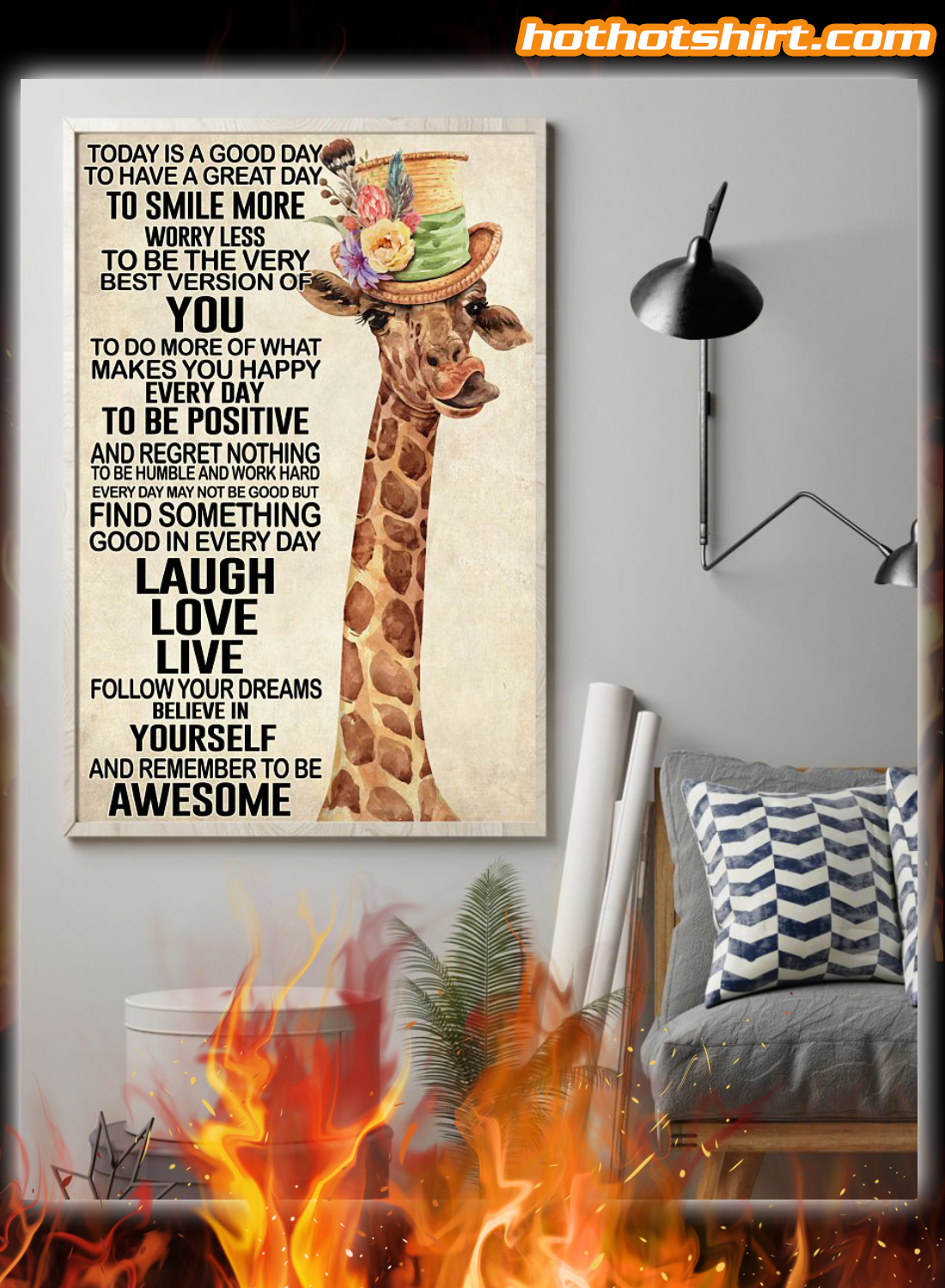 Giraffe Today Is A Good Day Poster