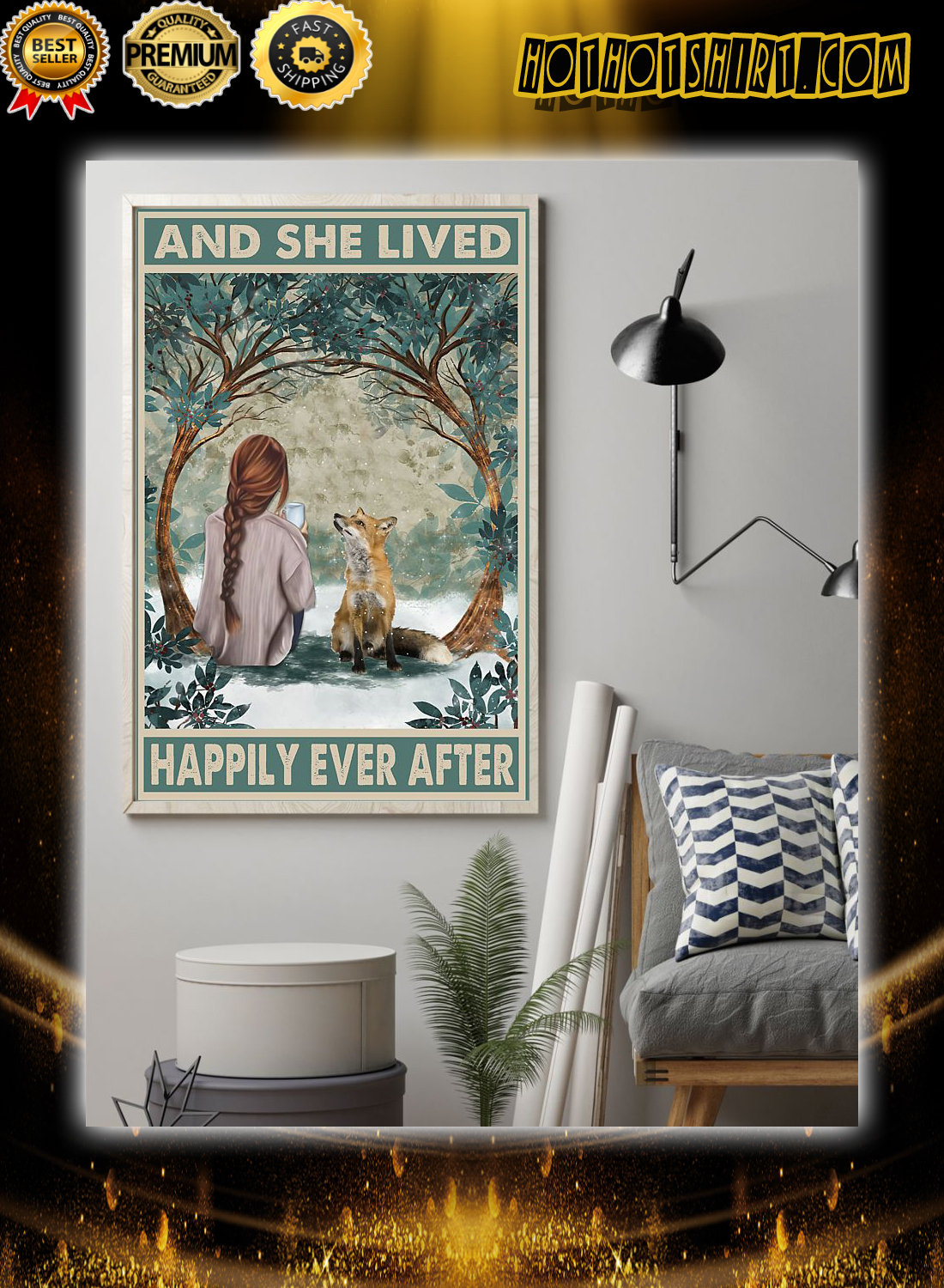 Girl and fox and she lived happily ever after poster 1